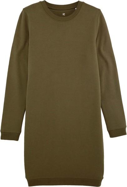Sweatshirt-Kleid aus Bio-Baumwolle - british khaki
