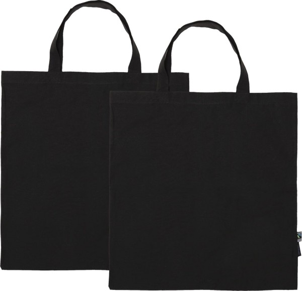 Doppelpack - Organic Shopping Bag kurze Henkel Fairtrade schwarz
