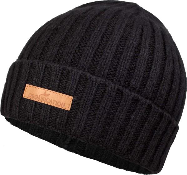 Mütze aus Bio-Merinowolle und Bio-Baumwolle - black