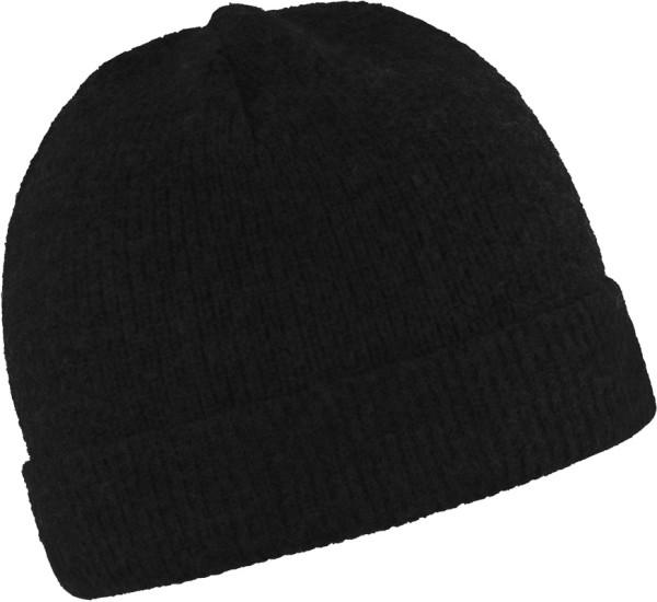Mütze schwarz Merinowolle Mufflon Umschlag
