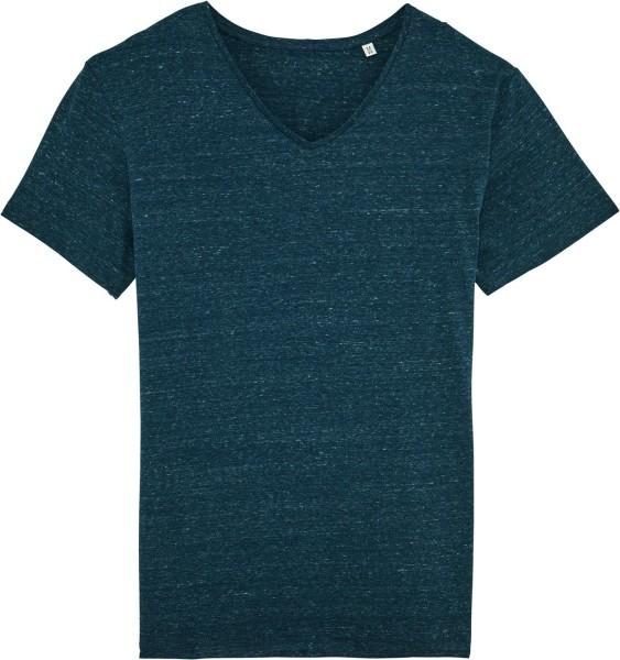 T-Shirt mit V-Ausschnitt aus Bio-Baumwolle - heather denim