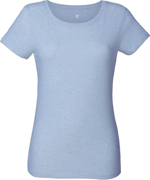 T-Shirt aus Bio-Baumwolle - cream heather blue