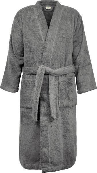 Frottee Kimono-Bademantel aus Bio-Baumwolle - dunkelgrau