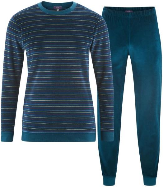 Nicki Schlafanzug aus Bio-Baumwolle - petrol/burgundy