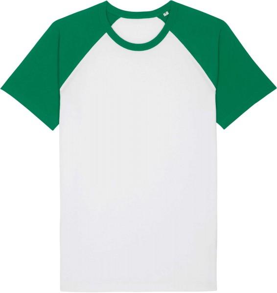 Unisex Baseball-Shirt aus Bio-Baumwolle - white/varsity green