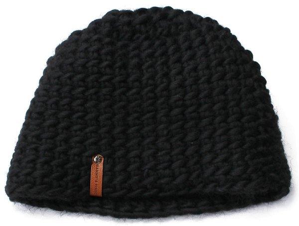 Strickmütze aus Schurwolle - schwarz