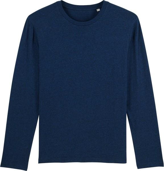 Longsleeve aus Bio-Baumwolle - black heather blue