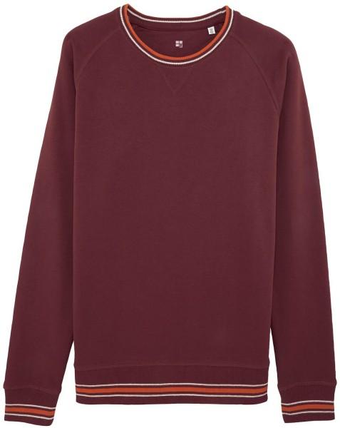 Sweatshirt mit Kontrastbündchen Bio-Baumwolle - burgundy