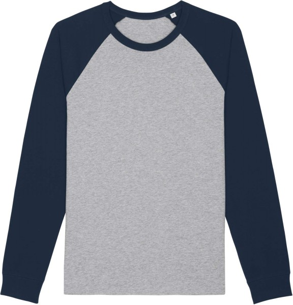 Baseball-Longsleeve aus Bio-Baumwolle - heather grey/french navy