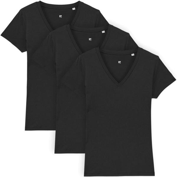 T-Shirt mit V-Ausschnitt aus Bio-Baumwolle - black - 3er-Pack