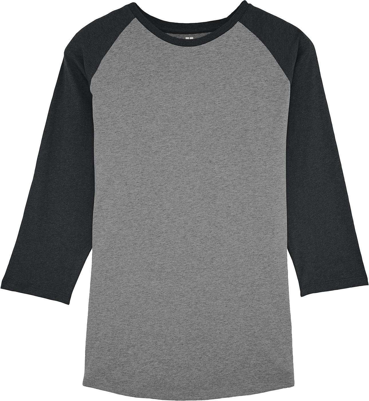 20b66243abef Faires Bio Baseballshirt dunkelgrau  grau meliert   grundstoff.net