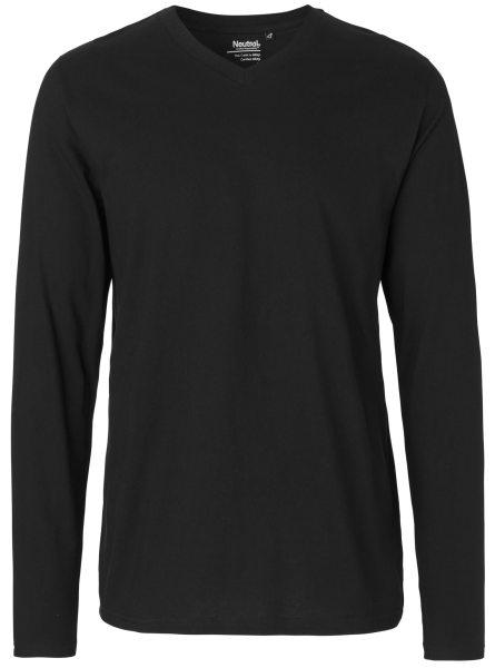 V-Neck Longsleeve schwarz Bio-Baumwolle O61055