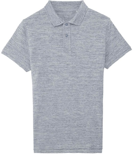 Piqué-Poloshirt aus Bio-Baumwolle - slub heather blue