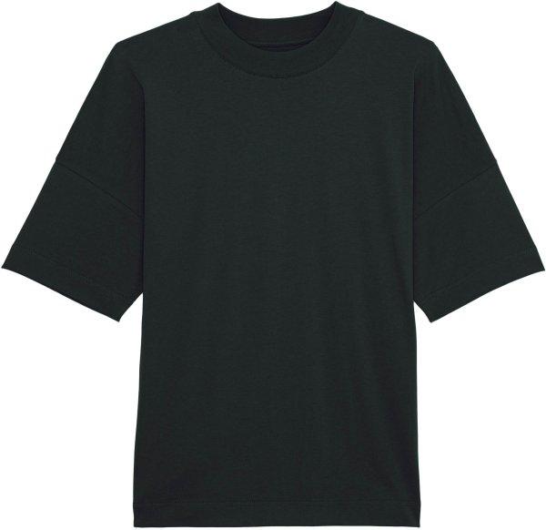 Oversized T-Shirt mit hohem Kragen aus Bio-Baumwolle - black