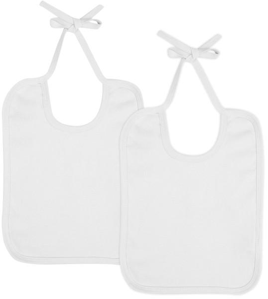 Baby Lätzchen aus Bio-Baumwolle Doppelpack - weiss