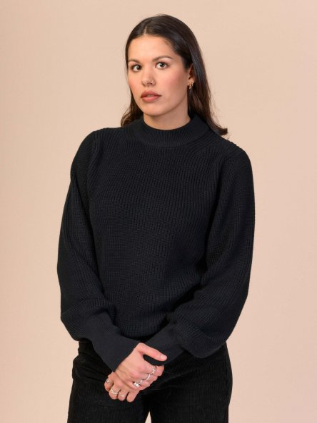 Fairtrade Strickpullover Riya aus Bio-Baumwolle - schwarz