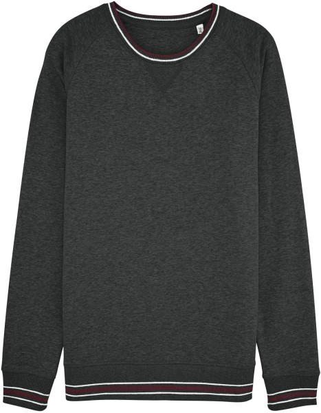 Sweatshirt mit Kontrastbündchen aus Bio-Baumwolle - dunkelgrau meliert