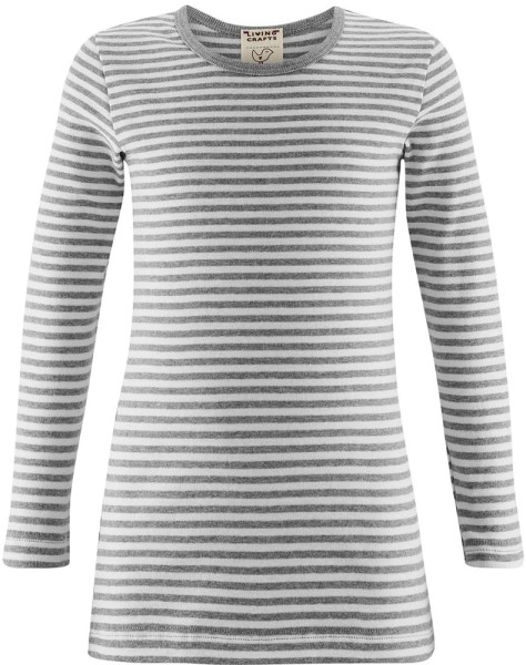 Kinder Langarm-Unterhemd Bio-Baumwolle - grey/white striped