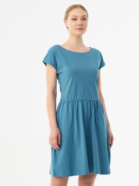 Kurzarm-Kleid aus Bio-Baumwolle - petrol blue