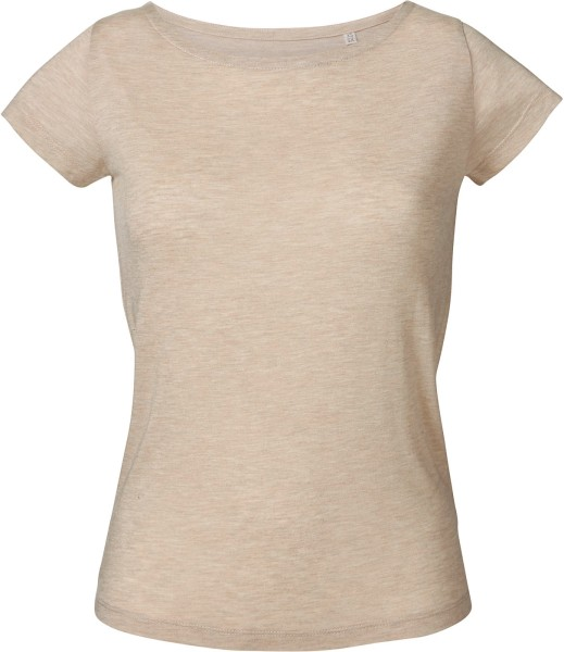 Boatneck T-Shirt aus Modal - mid-heather beige