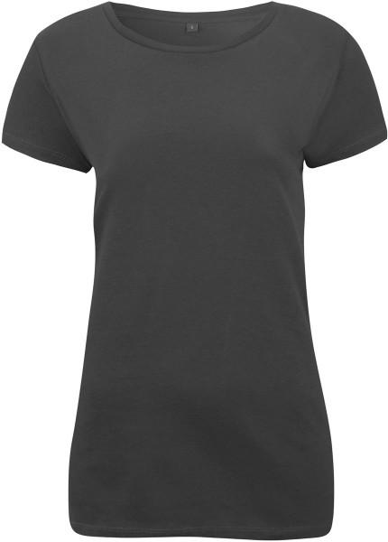 Regular Fit T-Shirt mit weitem Halsausschnitt - charcoal