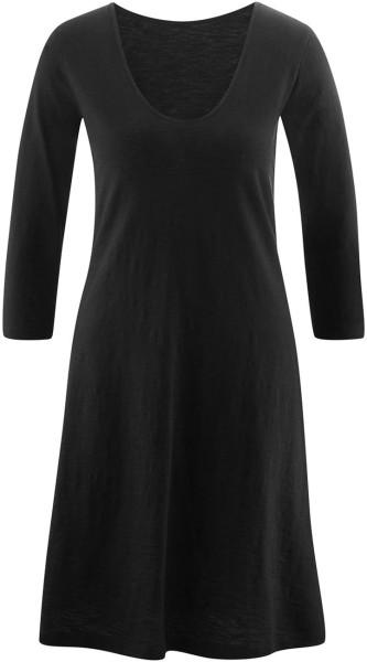 Kleid mit 3/4-Arm Bio-Baumwolle - black