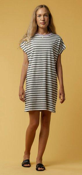 Fairtrade Jersey-Kleid Sunea aus Bio-Baumwolle - thin stripes / lilac