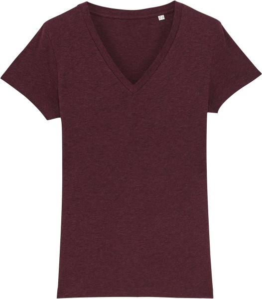 T-Shirt mit V-Ausschnitt aus Bio-Baumwolle - heather grape red