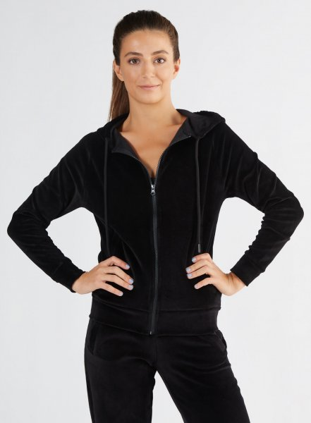 Nicki-Kapuzenjacke aus Bio-Baumwolle - schwarz