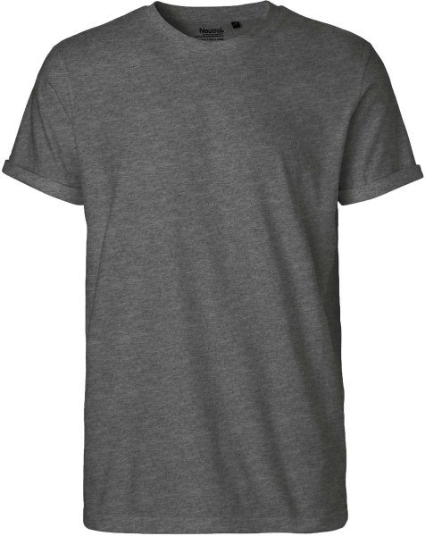 Roll Up Sleeve T-Shirt aus Fairtrade Bio-Baumwolle - dark heather