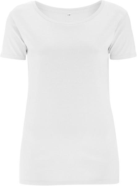 Bamboo Open Neck T-Shirt weiss - Bild 1