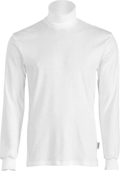 Rollkragen-Langarmshirt aus 100% Baumwolle - weiss