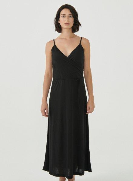 Spaghettiträger-Kleid aus recyceltem Polyester & Ecovero - black