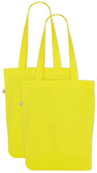 gelber Stoffbeutel aus Biobaumwolle im Zweierpack