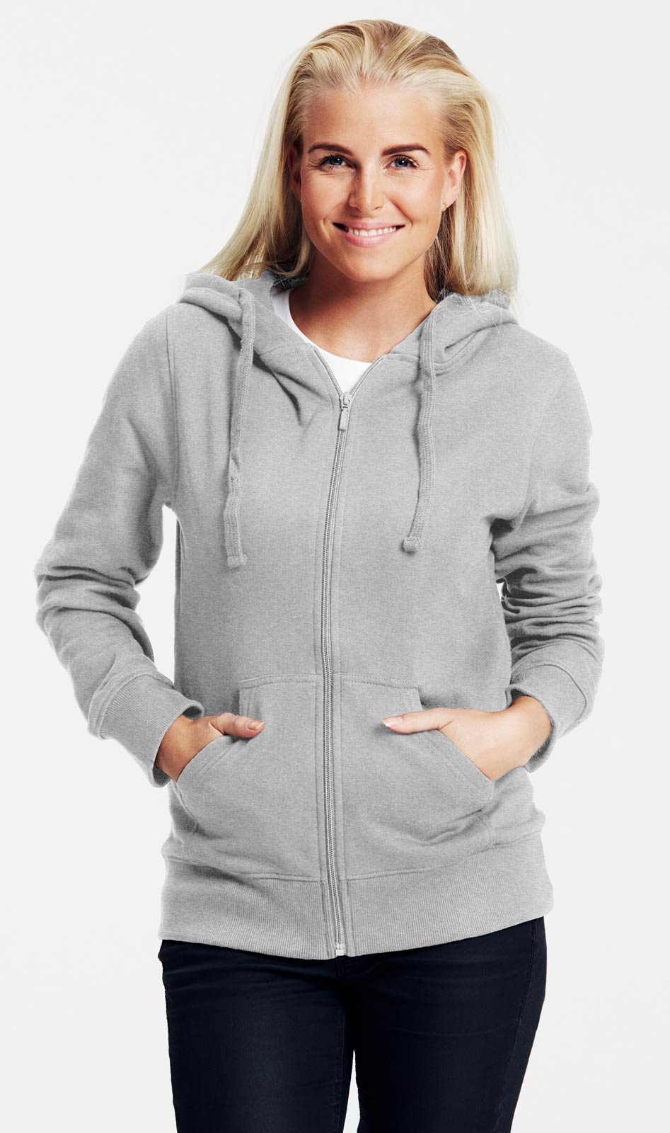 Graue Damen Sweatjacke aus 100% Bio Baumwolle |