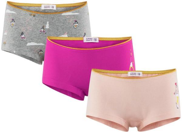 Mädchen Panty aus Bio-Baumwolle - 3er-Pack - grey melange/pink