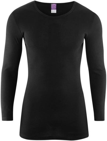 Langarm-Hemd schwarz - Biobaumwolle