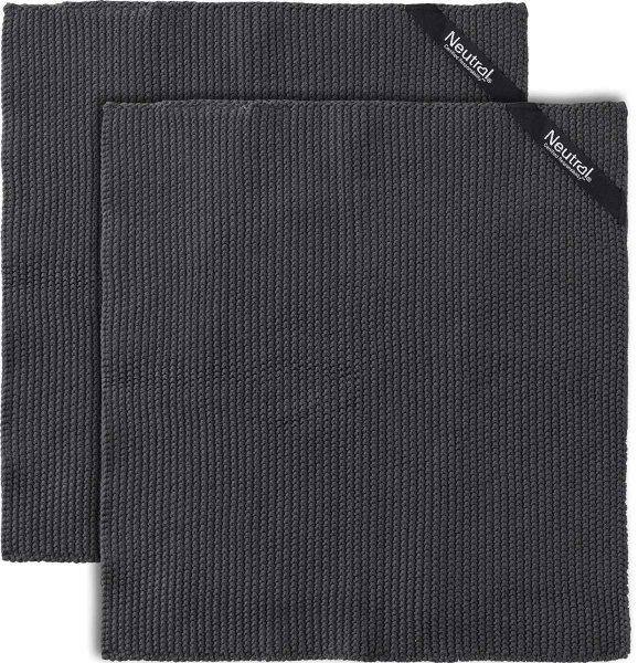 Perlstrick-Küchentuch  aus Fairtrade Bio-Baumwolle - 2er-Pack - charcoal
