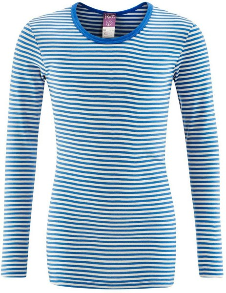 Kinder Langarm-Unterhemd Biobaumwolle - blue/natural striped