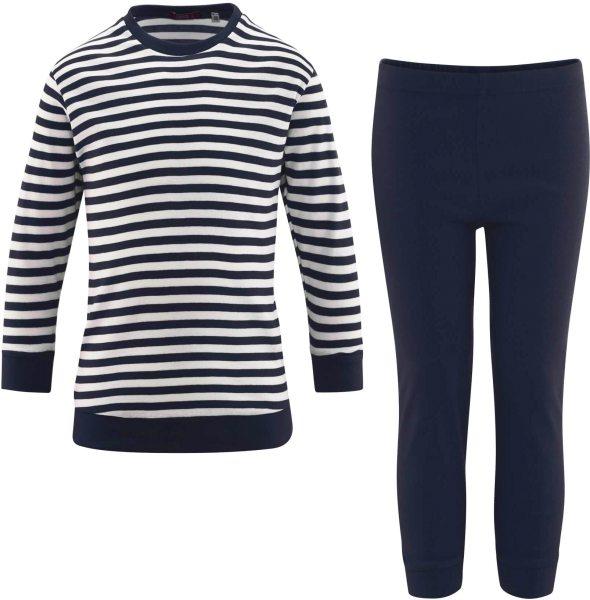 Kinder Schlafanzug Bio-Baumwolle – navy/white