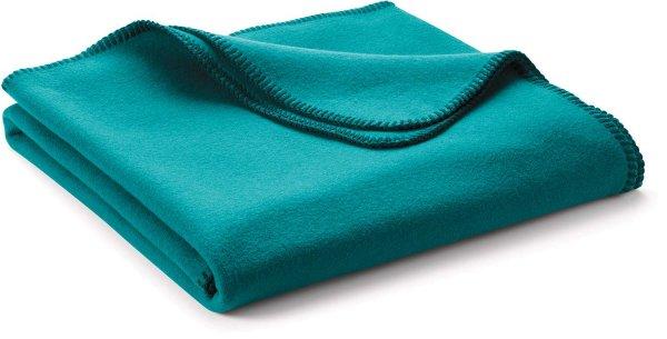 Fleece-Decke klein aus 100% Biobaumwolle - petrol