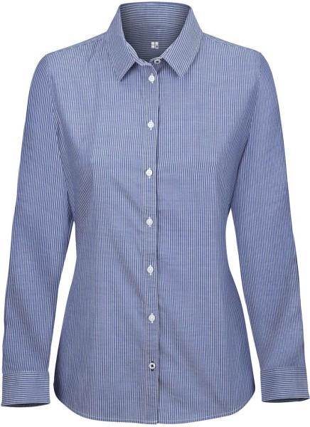 Bluse aus Biobaumwolle mit Längsstreifen - white-light blue