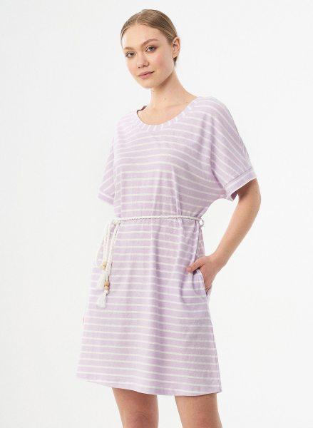 Kurzarm-Kleid aus Bio-Baumwolle & Leinen - lavender fog/offwhite