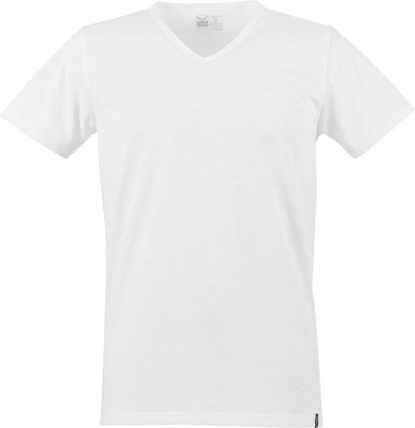 T-Shirt mit V-Ausschnitt aus Biobaumwolle - weiss