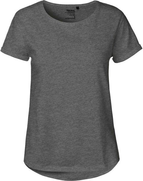 Roll Up Sleeve T-Shirt aus Fairtrade Bio-Baumwolle - dark heather