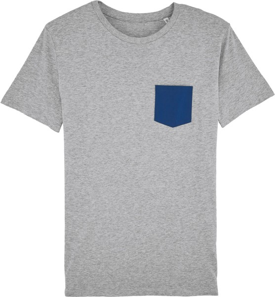 Kurzarmshirt aus Biobaumwolle - heather grey/blue