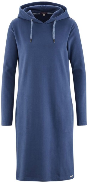Kapuzenkleid aus Bio-Baumwolle - twilight blue
