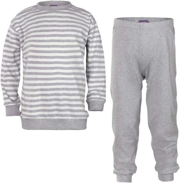 Kinder Schlafanzug aus Bio-Baumwolle - grey/white stripe - Bild 1