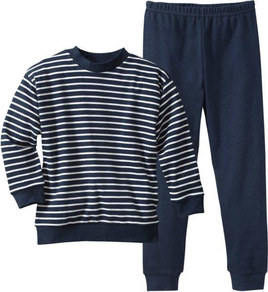 Kinder Gestreifter Schlafanzug aus Bio-Baumwolle - weiss-navy