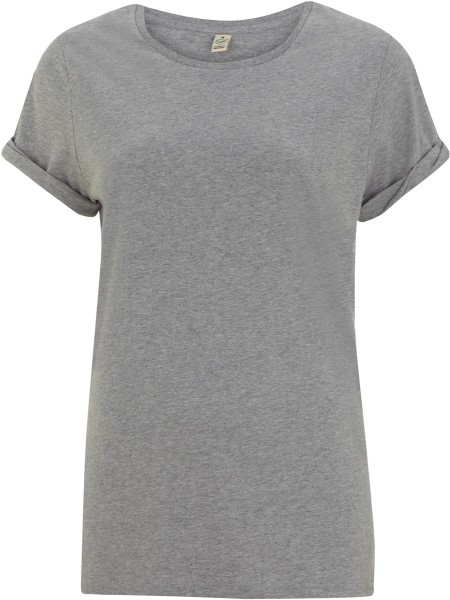 Organic Rolled-Up Sleeve T-Shirt - grau meliert